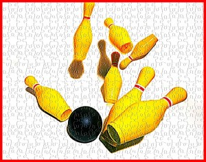 toy bowling ball and pins